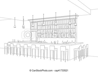 bar line interior restaurant vector perspective drawing stools alcohol shelves table illustration clipart drawings