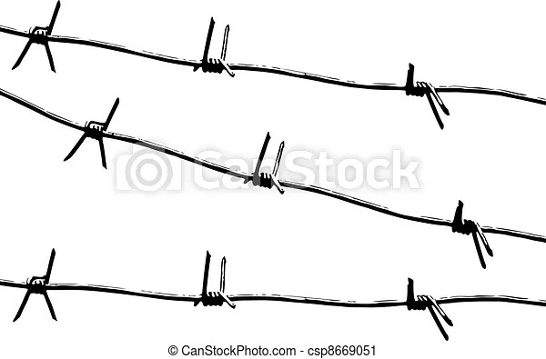 Barbed wire pattern vector. Barbed wire. black and white