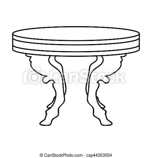Baroque table icon in outline style isolated on white