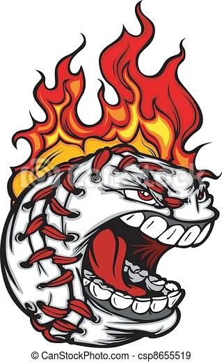 baseball face with flaming