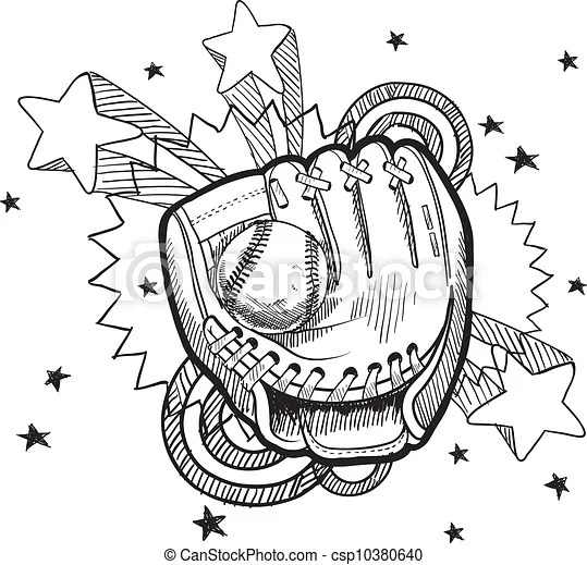 Baseball glove sketch. Doodle style baseball glove