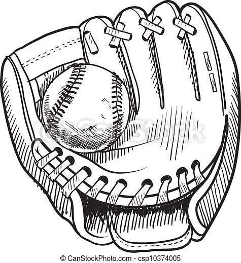 Baseball glove sketch. Doodle style baseball and glove in