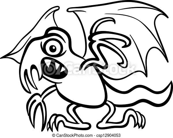 Basilisk monster cartoon for coloring book. Black and