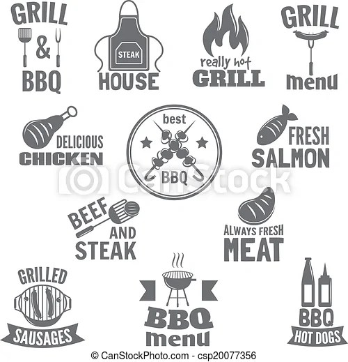 Bbq grill label steak fish and meat restaurant menu set