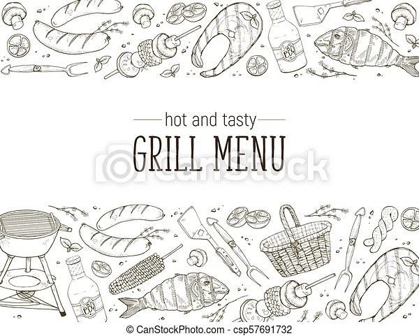 Bbq party poster. Bbq and grill banner with sketch objects