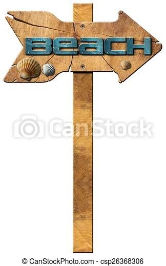 beach wooden directional sign