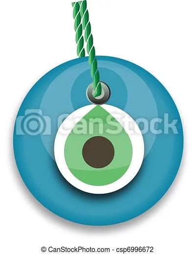 Blue bead, worn to avert the evil eye.