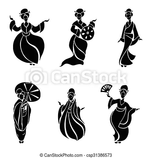 Beautiful chinese women in ethnic style. vector illustration.