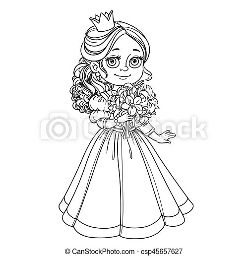 Beautiful princess holding bouquet of lilies in hand