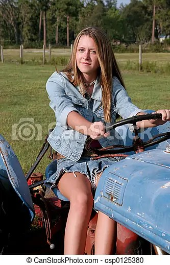 Beauty Driving Tractor A Beautiful Blond Country Girl