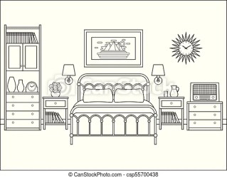 Bedroom interior hotel room with double bed vector illustration Bedroom retro interior hotel room with bed vector house CanStock