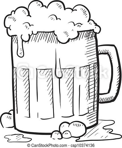 Beer mug sketch. Doodle style frothy beer mug vector
