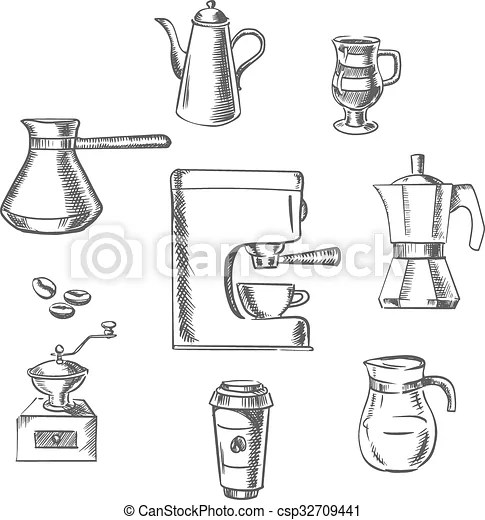 Beverage sketch icons around the coffee machine. Beverage
