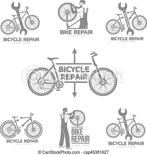 Bicycle repair workshop vector logo template. Bicycle