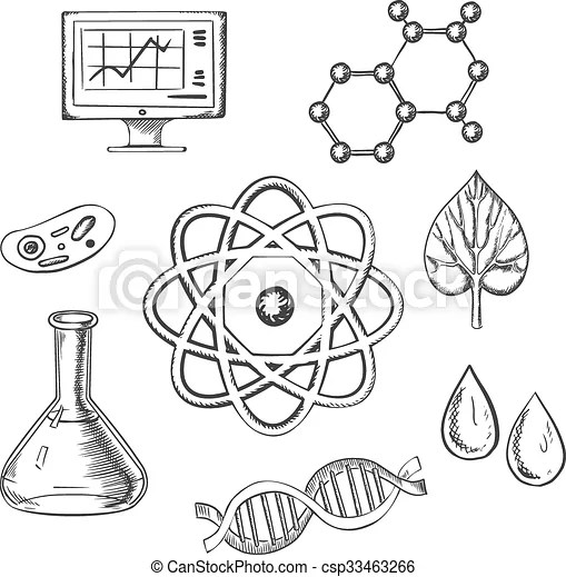 Biology and chemistry sketch icons with fresh leaf