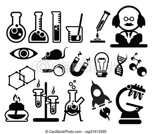 Biology science icons.