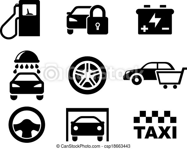 Black and white car service icons depicting a fuel pump