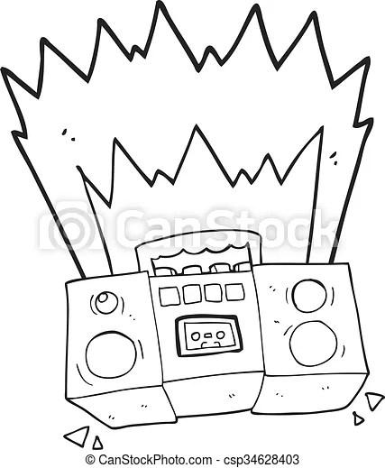 Freehand drawn black and white cartoon boom box.