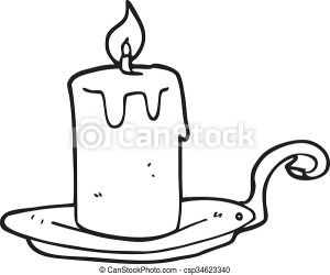 Freehand drawn black and white cartoon candle lamp CanStock