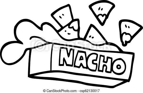 Black and white cartoon nacho box.