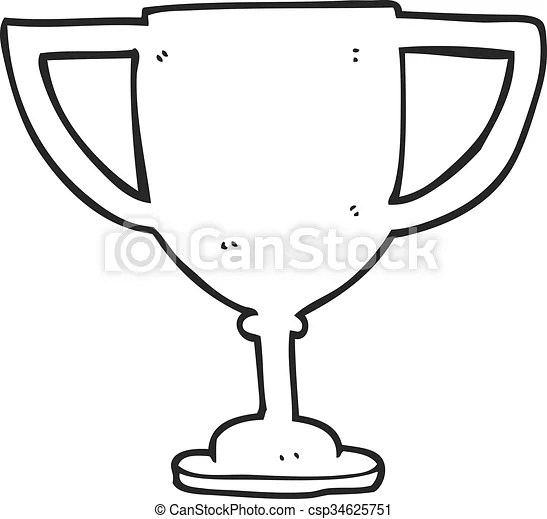 Freehand drawn black and white cartoon sports trophy.
