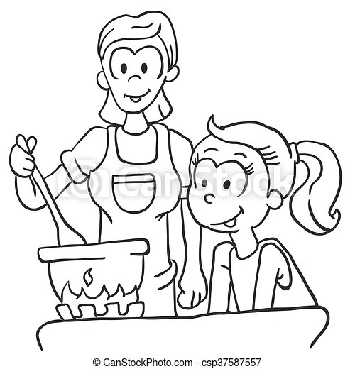 Black and white mother and daughter cooking cartoon.