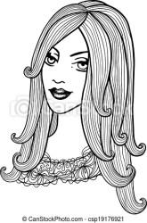 Black and white outline girl illustration