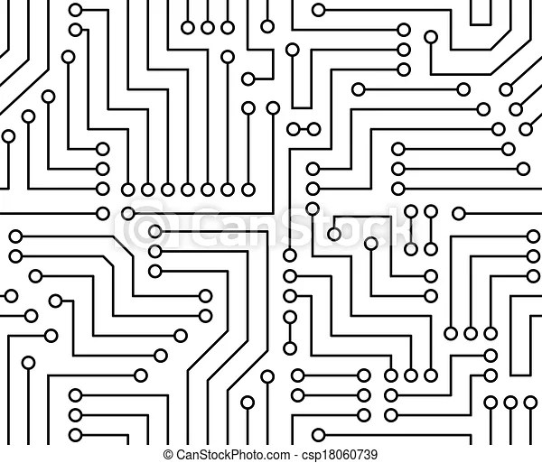 Black and white printed circuit board seamless background