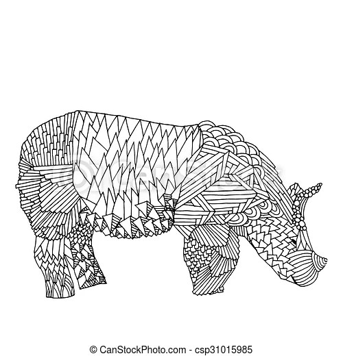 black and white rhino