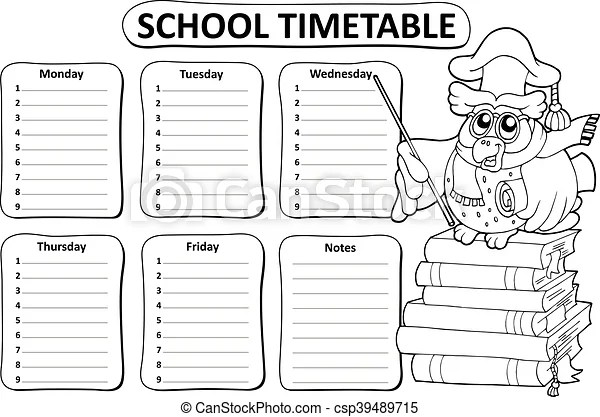 Black and white school timetable.