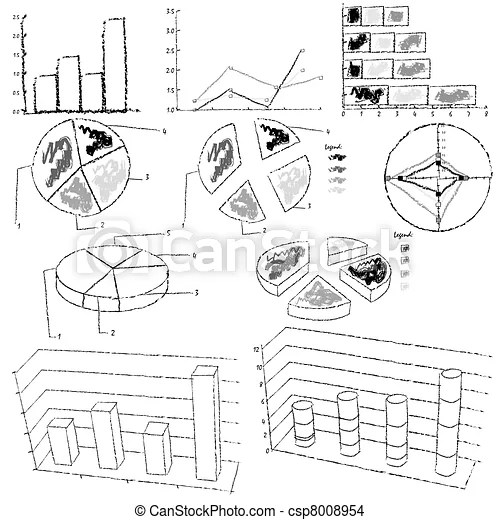 Vector illustration of black and white statistic graphs.