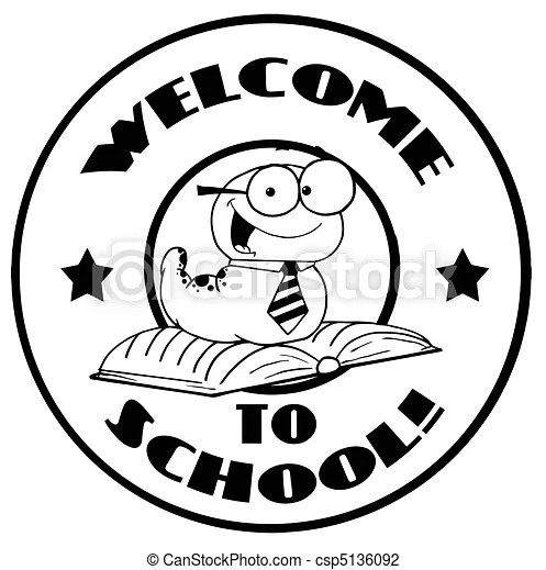 Black and white worm on a welcome back to school circle.