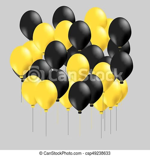 group of black and yellow balloons