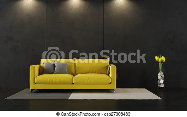 Black And Yellow Room Black Living Room With Contemporary Yellow Sofa 3d Rendering Canstock