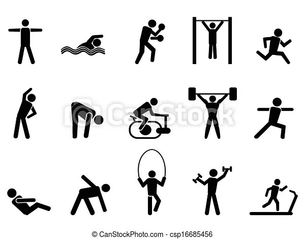 Isolated black fitness people icons set from white background.