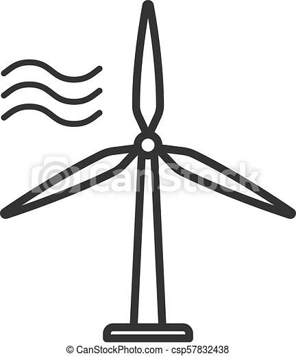 Black isolated outline icon of wind energy turbine on
