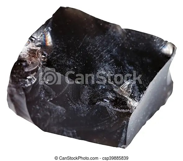 Macro shooting of igneous rock specimens - black obsidian (volcanic glass) mineral isolated on white background.