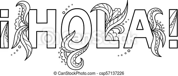 Black outline isolated hand drawn decorative word in