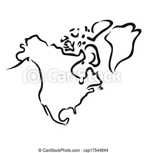Map Of North America Illustration Stock Vector
