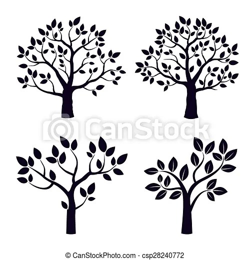 black vector trees with