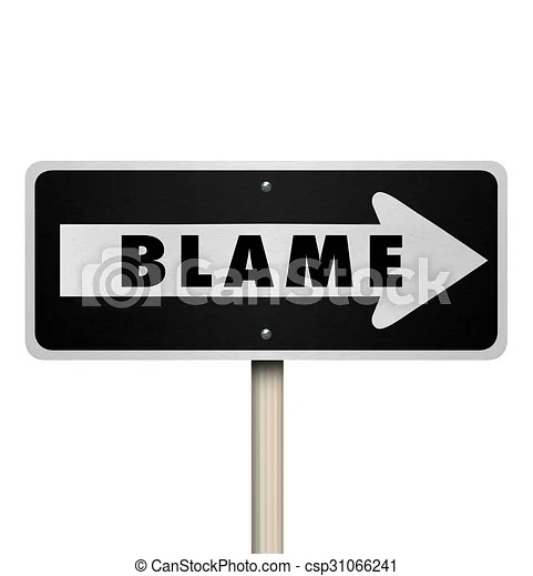 Blame scapegoat accused one way road street sign. Blame word on a one-way road sign to illustrate accusation or scapegoating a person regardless ...