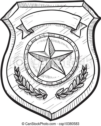 Blank police or firefighter's badge. Doodle style police