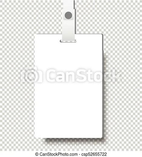 Blank realistic identity card badge with ribbon mockup