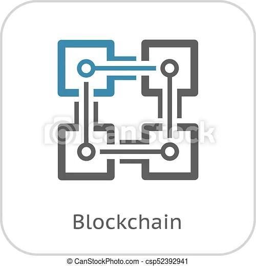 Blockchain icon. modern computer network technology sign