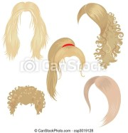 set of blond hair styling