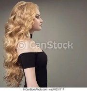 blonde woman with long curly beautiful