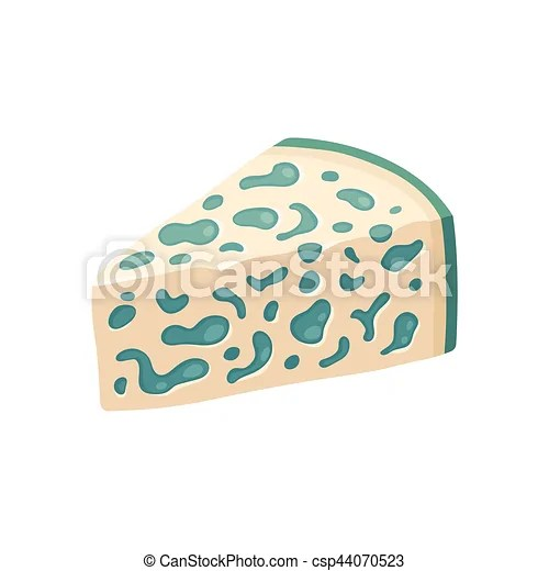 Blue cheese illustration Blue cheese wedge with mold