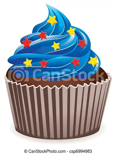 vector blue cupcake with star sprinkles