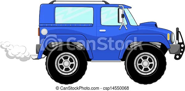 Illustration of blue truck cartoon isolated on white background.