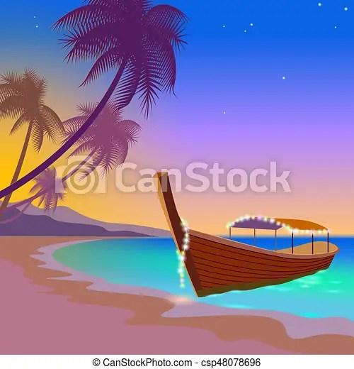 boat sunset sea vacation. romantic